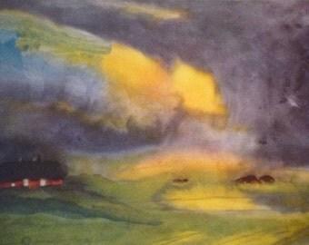Marsh Landscape Emil Nolde - Cloudy Sky Fine Art Book Plate - art ephemera gift for art lovers modern art expressionism framable print