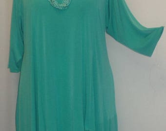 Coco and Juan, Plus Size Top,  Asymmetric Tunic, Womens Top, Plus Size Tunic, Turquoise Traveler Knit, Size 2 (fits 3X,4X) Bust 60 inches