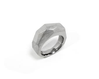 Faceted Polygonal Modern Ring in Stainless Steel