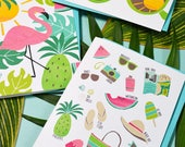 Set of four Summer Notecards, Hello Sunshine, Flamingo, Sunglasses, Tropical Note Cards, Watercolor, Beach, Pineapple, Sunny, Fun Stationery