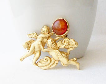 Vintage Cherub Louis Stern Brooch, Vintage Angel Pin, Vintage LS Cherub Amber Brooch