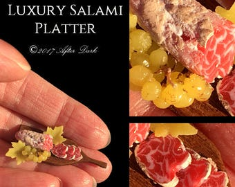 Gourmet Salami & Grape Platter - Artisan Handmade Miniature in 12th scale After Dark miniatures.