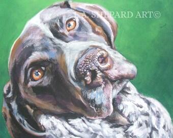 "GSP German Shorthaired POINTER dog portrait ART canvas print of LAShepard painting 12x16"""