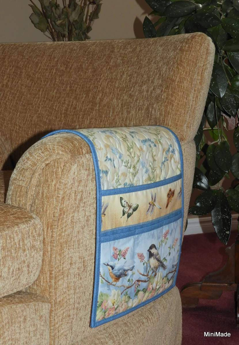 Quilted Armchair Caddy Bedside Caddy Chickadee Nuthatch