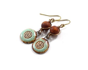 Handmade Earrings, Stoneware Earrings, Artisan Earrings, Boho Chic Earrings, Brass Earrings, Turquoise Earrings, Agate, Rust Earrings