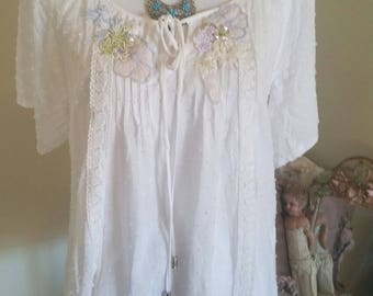 antique vintage look top, hand embroidered top, upcycled clothing, victorian look, white chemise