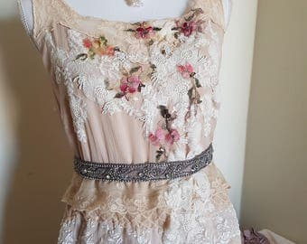 handmade 20s style wedding dress, vintage antique lace, lavish surface, 20s look wedding dress