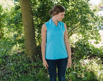 Harvest Cotton Jersey Knit Tank Top with Cowl Neck Women's Handmade Clothing