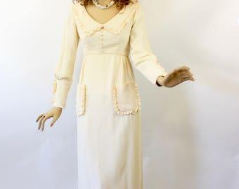 Vintage 70s Emma Domb Maxi Dress Ivory Beige Crepe Empire Dress Long Sleeves Low Neckline Size 9 Bust 34