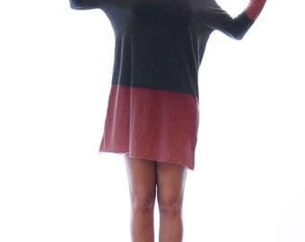 Grey t shirt dress, hand dyed charcoal dress, long sleeves dress