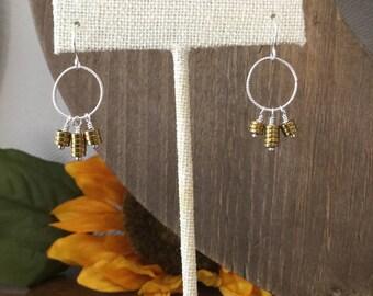 Sterling Silver and Gold Hematite Disc Dangle Hoop Earrings