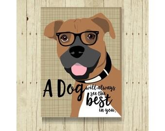 Boxer Magnet, Boxer Dog, Boxer Gift, Dog Lover Gift, Boxer Art, Small Gift Magnet, Dog Magnet, Fridge Magnet, Refrigerator Magnet