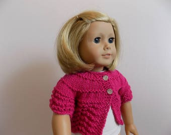 Pink Doll Sweater, 18 Inch Doll Sweater, Knit Doll Cardigan, Doll Shirt, Doll Clothes, Toys, 18 Inch Doll