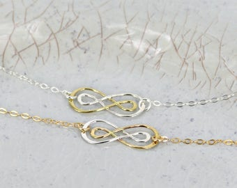 Infinity necklace • Dainty infinity charm necklace • Bridal necklace • Gold or Silver chain • Multi-color infinity charm jewelry