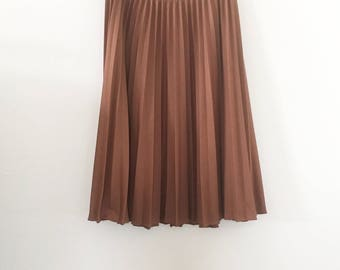 80's Brown Pleated Midi SKirt