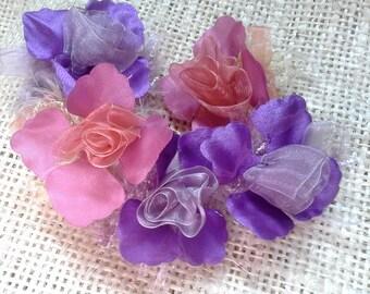 Vintage organza flowers, vintage supplies,  fabric flowers, vintage flowers, flower trim, flower embellishment, flower supply, purple, pink
