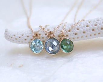 Rose Cut Solitaire Necklace in Solid 14k Yellow Gold with Blue Zircon, Green Tourmaline, or Montana Sapphire - Eco Friendly & Ready to Ship