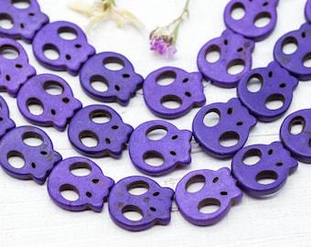 Skull Beads, Purple Beads, 20mm, 19 Pcs, Howlite Skull Beads, Skull -B211