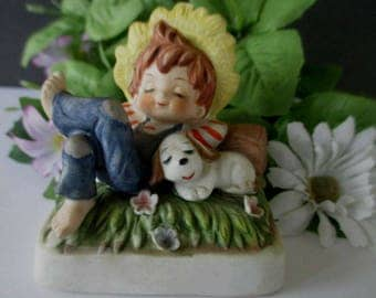 Boy And Dog Figurine * Country Boy Sleeping * Vintage Lefton Figurine