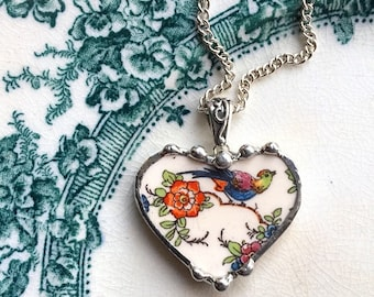 Broken china jewelry - heart pendant necklace - bird of paradise - orange floral - made from antique recycled china
