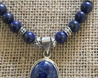Blue Lapis pendant necklace set
