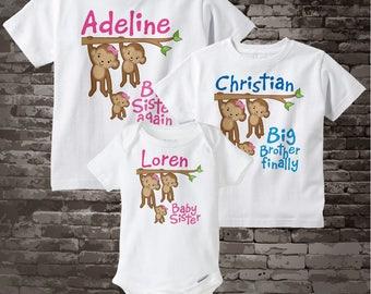 Sibling Monkey Shirt Set, Set of Three, Big Sister Again Shirt, Big Brother FInally Baby Sister, Personalized Shirt or Onesie 04162015j