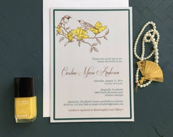 The Caroline Bridal Shower Invitation | Bridesmaid's Luncheon Invitation | Baby Shower Invitation | Bird Invitation | Birthday Party Invites