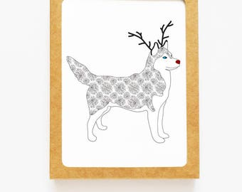 Holiday Husky Dog Reindeer Card for Christmas Greetings or Happy New Year Cards