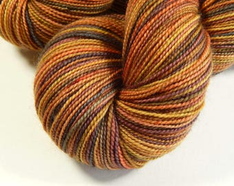 Hand Dyed Sock Yarn - Sock Weight Superwash Merino Wool Yarn - Nutmeg Multi - Indie Dyed Fingering Knitting Yarn, Autumn Multicolor