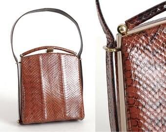 new-old 1940s 1950s reptile skin box purse * vintage handbag * AC130