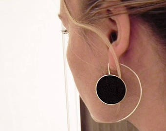 Big Silver Earrings, Long Sterling Silver Earrings, Big Statement Silver Resin Earrings, Black Earrings, Black Jewellery