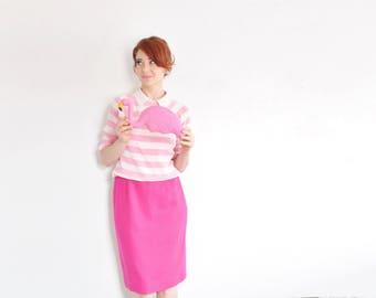 pink striped collar sweater combo . such a good combo . silk knit pullover .small .sale