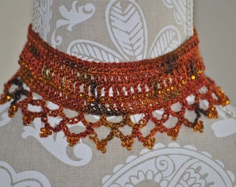 Fall Beaded Bohemian Necklace - Autumn Colors - Gold Beads - Unique Crocheted Necklace - Gold Orange Green Colors
