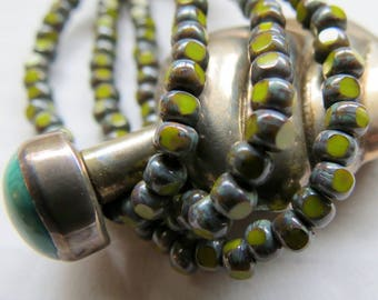 NEW DARK AVOCADO .  Czech Tri cut Picasso Seed Beads . size 6/0 . (50 beads)