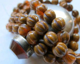 NEW Burnt ORANGE MELONS . Czech Picasso Glass Beads . 6 mm (25 beads)