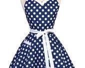 Sweetheart Retro Apron - Womens Nautical Navy Blue Polka Dot Flirty Pinup Kitchen Apron to Personalize or Monogram (DP)