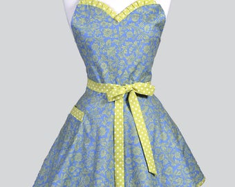 Sweetheart Pinup Womans Apron - Periwinkle and Lime Green Polka Dot Swirls Retro Vintage Inspired Flirty Ruffled Kitchen Apron with Pockets