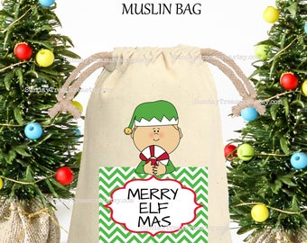 Elf Muslin Gift Bag / Merry Elf Mas / 4x6 / Rustic Red Green Chevron / CHRISTMAS Gift Card Holder / Hot Cocoa Packet Holder / QTY DISCOUNT