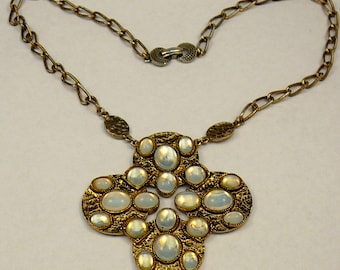 Huge Hollycraft Moonstone Glass Cabochons Necklace