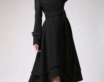 Wool coat women, black coat, long coat, warm jacket, layered coat, asymmetrical coat, tie belt coat, womens clothing, plus size coat(703)