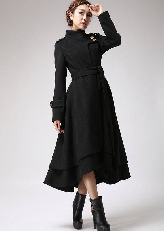 Wool coat women black coat long coat warm jacket layered
