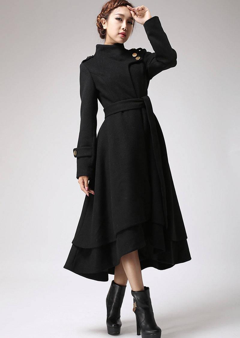 Wool coat women black coat long coat warm jacket layered
