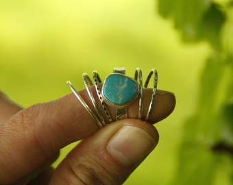 Sterling silver and Turquoise stacking rings - textured - leaf print - unique - individual rings - fine