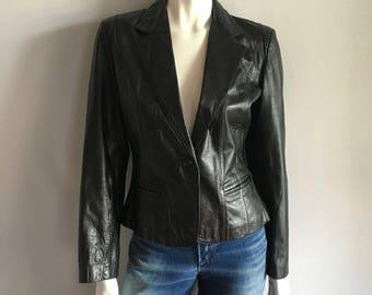 Vintage Women's 80's Wilson's, Black Leather Jacket (S/M)