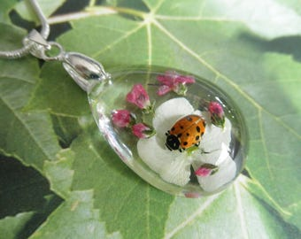 Ladybug ,Snowball Bush,Pink Veronica Encased In Glass Teardrop Pressed Flower Pendant-Symbolizes Thoughts Of Heaven