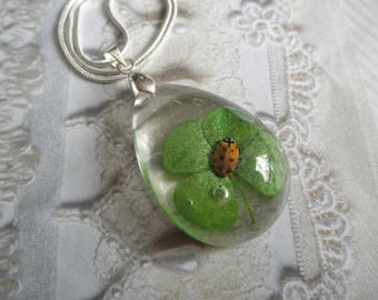 Real Ladybug & Real 4 Leaf Clover Large Glass Teardrop Pendant-Symbol Of Love,Hope,Faith,Luck-Nature's Art-Gifts Under 35