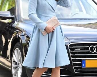 kate middleton blue swing dress celeb inspired custom made