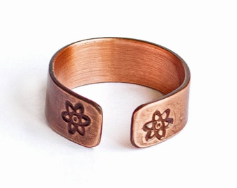 Atom Ring - Handcrafted Stamped Copper ring with Brushed Matte Finish, Adjustable and Lightweight
