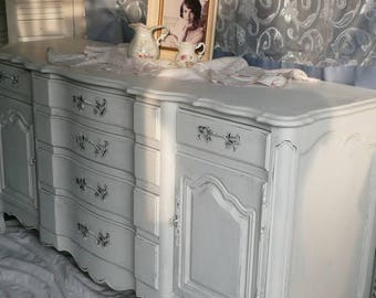 Sideboard French Provincial Bow Front Vintage Buffet Custom PAINT to ORDER Poppy Cottage Painted Furniture