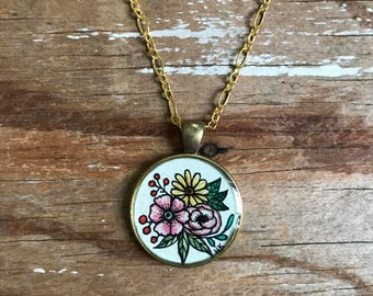 Three Flowers Hand Painted Necklace - Wearable Art Jewelry, Watercolor, Gold Pendant, Drawing Necklace
